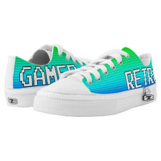 Retro Gamer-Schuhe (weißer w/Pixel Hintergrund) Niedrig-geschnittene Sneaker
