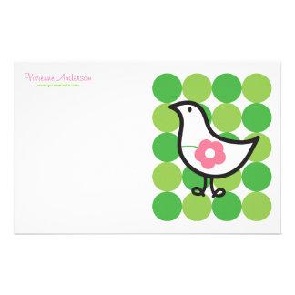 Retro Gänseblümchen-Baby-Küken-Vogel-wunderliche Briefpapier