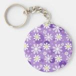 Retro Gänseblümchen-lila Gingham-Kreise Schlüsselbänder