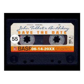 Retro Geburtstag Save the Date PostC des Tonbandes Postkarten