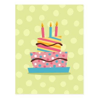 Retro Geburtstagskuchen auf grünem Hintergrund Postkarte