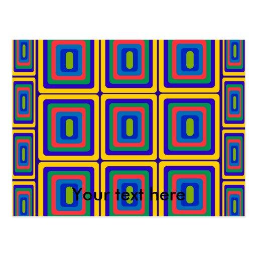 Retro gelbe lila und grüne Quadrate Postkarte