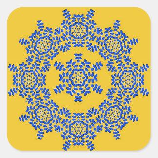Retro gelbe u. blaue quadratischer aufkleber