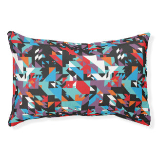Retro geometrisches abstraktes Muster Haustierbett