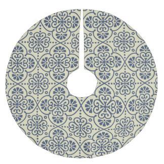 Retro geometrisches dekoratives mit Blumenmuster Polyester Weihnachtsbaumdecke
