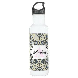 Retro geometrisches dekoratives mit Blumenmuster Trinkflasche