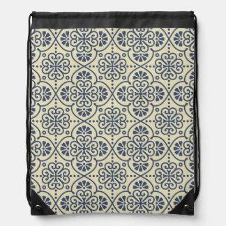 Retro geometrisches dekoratives mit Blumenmuster Turnbeutel