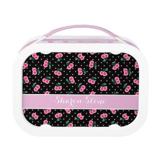 Retro girly schwarze rosa Kirsche kopiert Brotdose