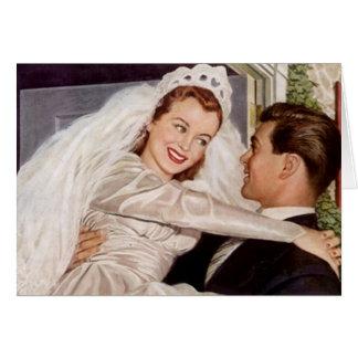 Retro glückliche freudig erregt Hochzeits-Paare Grußkarte