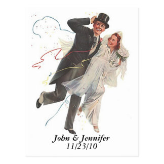 Retro glückliche freudig erregt postkarte