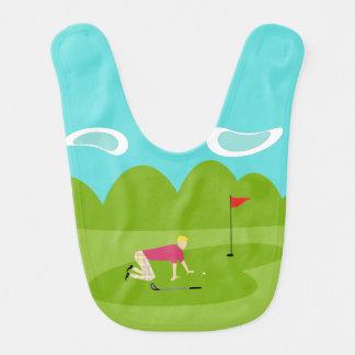 Retro Golfspieler-Baby-Schellfisch Lätzchen