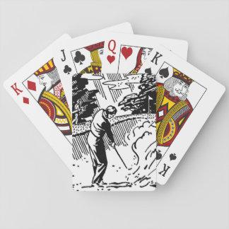 Retro Golfspieler-Sandfang Spielkarten