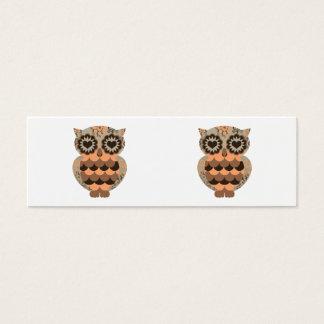 Retro Groovy Eulen-orange Brown-Herz-BlumenWirbel Mini Visitenkarte