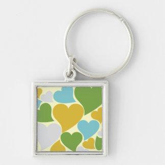 Retro grüne Herzen Silberfarbener Quadratischer Schlüsselanhänger
