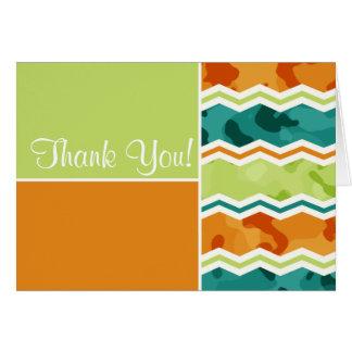 Retro grüne, orange, aquamarine Camouflage Karte