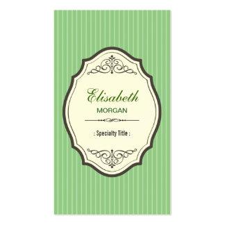 Retro grüne Smaragdlinien eleganter Vintager Visitenkartenvorlage