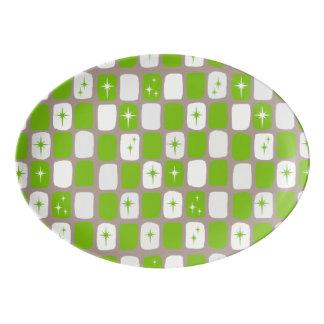 Retro grüne und weiße porzellan servierplatte