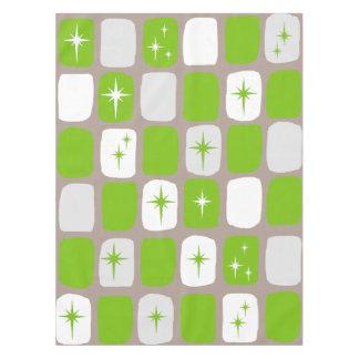 Retro grüne und weiße Sternexplosion-Tischdecke Tischdecke