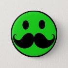 Retro grüner smiley-Schnurrbart-Schnurrbart Stache Runder Button 5,1 Cm