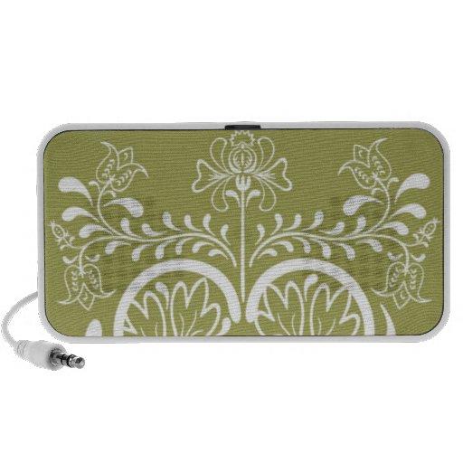 Retro grüner und weißer BlumenLautsprecher Laptop Speaker