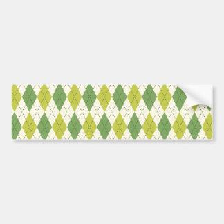 Retro grünes geometrisches Rauten-Muster Autoaufkleber