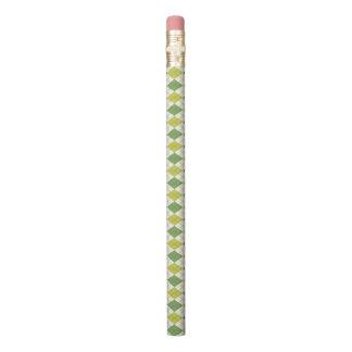 Retro grünes geometrisches Rauten-Muster Bleistift