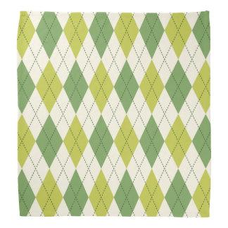 Retro grünes geometrisches Rauten-Muster Kopftuch