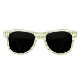 Retro grünes geometrisches Rauten-Muster Sonnenbrille