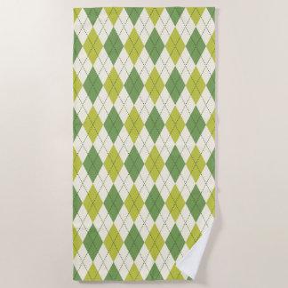 Retro grünes geometrisches Rauten-Muster Strandtuch