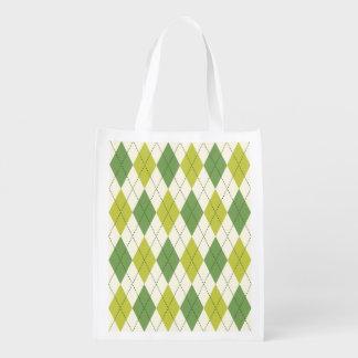 Retro grünes geometrisches Rauten-Muster Wiederverwendbare Einkaufstasche