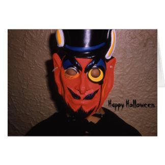 Retro Halloween-Teufel-Masken-betrügen Karte