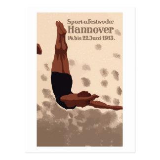 Retro Hannover Deutschland trägt Tauchanzeige zur Postkarten