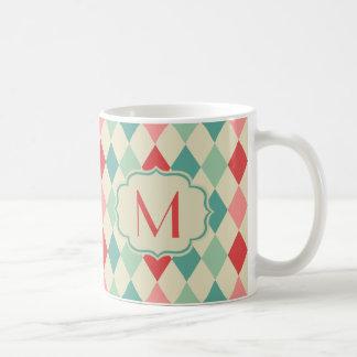 Retro Harlekin-geometrisches Muster-Monogramm Kaffeetasse