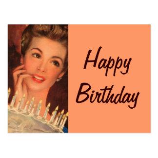 Retro Hausfrau-Geburtstag Postkarte
