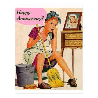 Retro Hausfrau-Jahrestag Postkarte