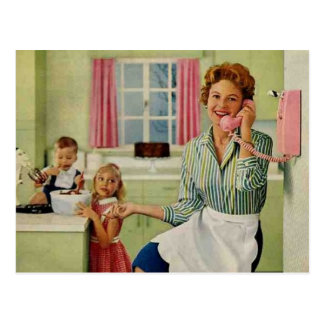 Retro Hausfrau u. Familie Postkarte