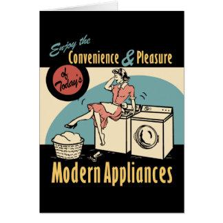 Retro Hausfrau-Waschmaschinen-Trockner Karte