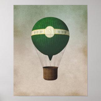Retro Heißluft-Ballon-Plakat Poster