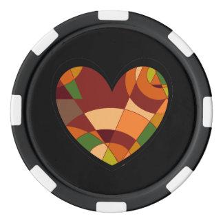Retro Herbst-Herz abstrakt Poker Chips Set