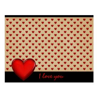 Retro-Herzen - I love you * Postkarte