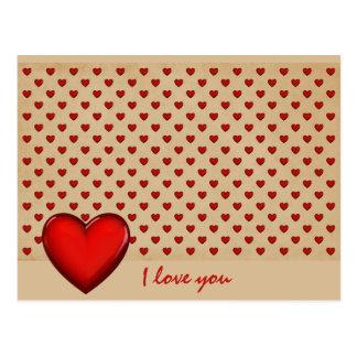 Retro-Herzen - I love you Postkarte
