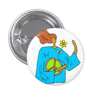 Retro Hippie-Friedensmädchen-Blumen-Knopf Runder Button 2,5 Cm
