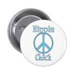Retro Hippie-Küken-Tupfen-und Streifen-Frieden Anstecknadel