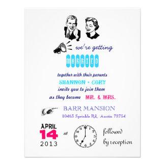 Retro Hochzeits-Einladung