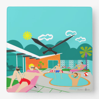 Retro homosexuelles Pool-Party-Acrylwand-Uhr Quadratische Wanduhr
