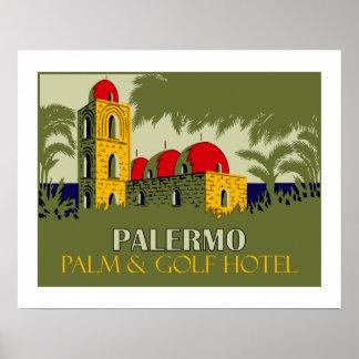 Retro Hotel-Reiseanzeige Palermos Sizilien Poster