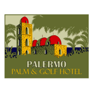 Retro Hotel-Reiseanzeige Palermos Sizilien Postkarte