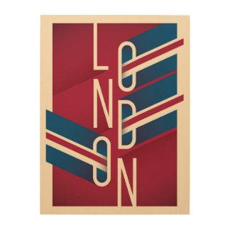 Retro illustrierte Typografie Londons, England | Holzleinwand