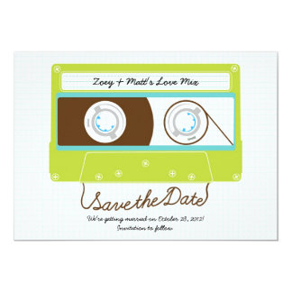 Retro Indie Mixtape Wedding blaues/Limones Grün 12,7 X 17,8 Cm Einladungskarte