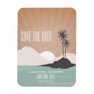 Retro inspirierter Strand-Hochzeits-Save the Date Eckiger Magnet